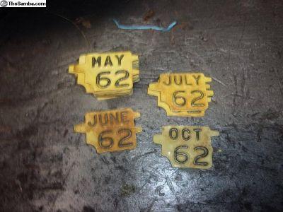 1962 Licences plate YOM Tags