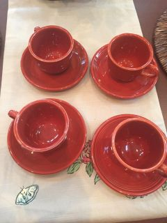 Fiestaware 4 sets of cup/saucers. Paprika.New.
