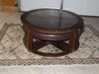 ROUND COCKTAIL BROWN WOOD GLASS COFFEE TABLE