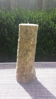 """Wood candle holder with votive candle 12"""" tall"""