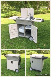 Outdoor Portable Lawn & Garden Organizer, hooks up to hose, store tools, dirt, etc, excellent condition, asking $60 (cost $140)