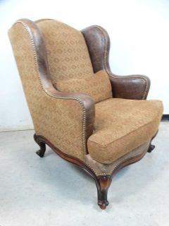 Leather and Fabric Upholstered Wing Chair