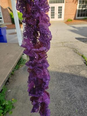 Handmade ruffles scarf. Deep jewel purple. Extra long.