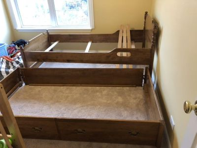 Wood trundle bed long twin