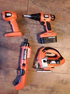 4 kids black & Decker battery operated tools (batteries included) All work and make sounds flashlight lights up.