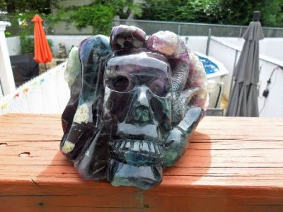Beautiful Very Large 8.32 lbs of Natural Fluorite Skull Carving