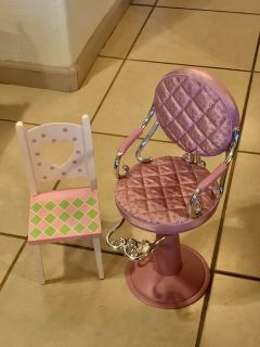 18 Doll Salon Chair and Wooden Table Chair EUC Cute!