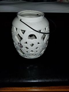 Cream colored candle holder