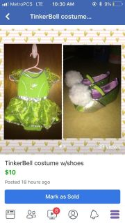 TinkerBell costume with shoes