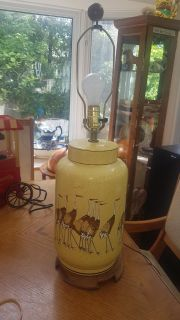 """Beautiful large 28"""" Chinese porcelain Lamp with Storks / Birds, no shade, works fine. $15"""