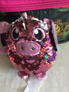 Pig keychain with sequins changeable new with tags