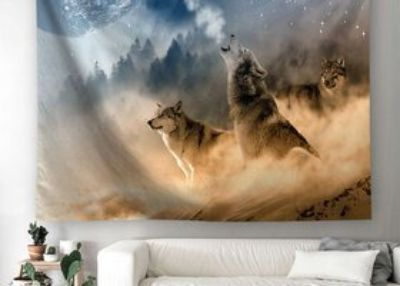 Howling Wolf Wall Tapestry, Three Musketeers Wolves in Desert Sandy Land Howling to Moon Wall Ha...