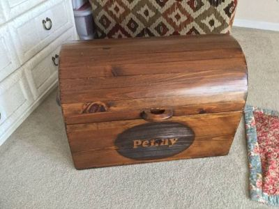 Handmade Wooden Hope chest - barrel shape dark Pine Storage chest