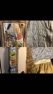 Crib comforter, fitted sheet, bed skirt and bumper. Great shape
