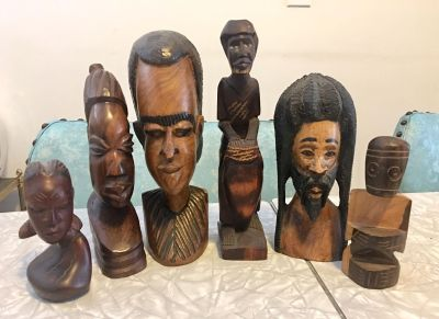 Vintage Lot of 6 Hand-Carved Wood Native Head Busts/Carvings From Africa, Europe & Caribbean