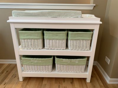 Pottery Barn Kids Baby Changing Table with Lined Baskets & Pad