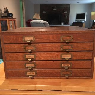 Weis 5 Drawer Wooden File Flat Cabinet Antique