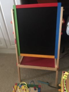 Chalk and dry erase standing art easel.