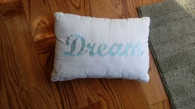 """Dream pillow. Has piling on it from being tossed around on bed but no rips or stains 17""""x12"""""""