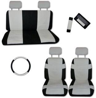 Buy Superior Artificial Leather Off White Black Car Truck Seat Covers with Extras #C motorcycle in Hildale, Utah, US, for US $46.93