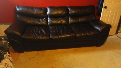 Three seat black leather couch