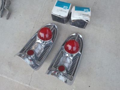 Purchase 1956 CHEVROLET 150 210 BEL AIR TAIL LAMP LIGHT ASSEMBLIES USED NOS LENS PR 56 motorcycle in Salem, Iowa, United States, for US $199.95