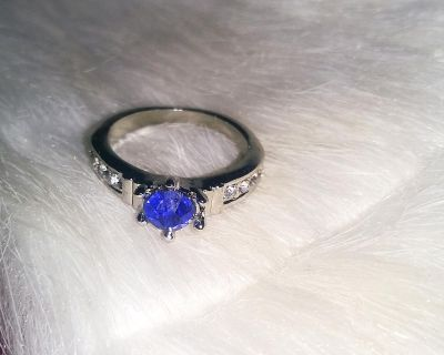 Brand New Silver Plated Sapphire CZ Ring