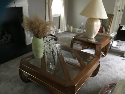 Oak and glass coffee and end tables
