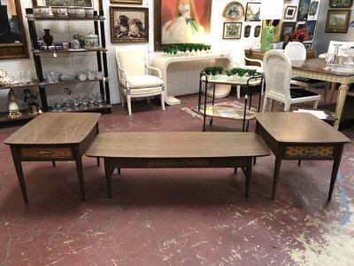 Vintage MCM Walnut Coffee Table & 2 Side Tables