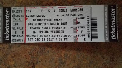 Two Garth Tickets For Tonight