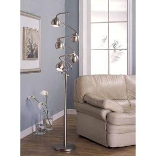Floor Lamp 65 Inches Sanded Chrome - New!