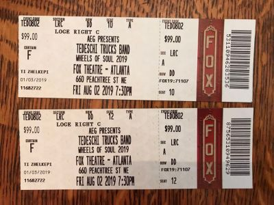 (2) Tedeschi Trucks Band concert tickets Friday 08/02 with Blackberry Smoke and Shovels and Rope