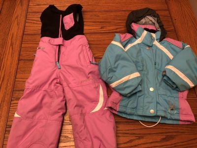 Girls overall snow pants and matching jacket