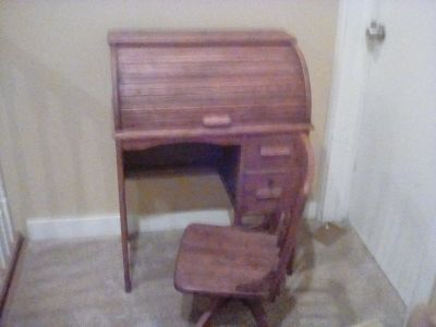 Small child's roll top desk and chair