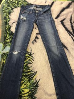 American Eagle Women s Stretch Slim Boot Distressed Jeans Size 0 X-Long