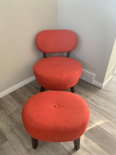 Orange Chair with Ottoman