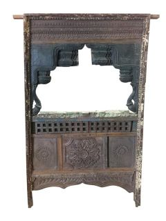 Antique Jharokha Vintage Natural Wood Shabby Chic Hand Carved