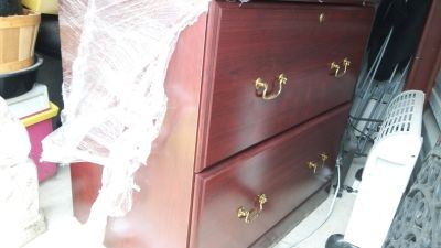 Lateral file cabinet, dark wood color