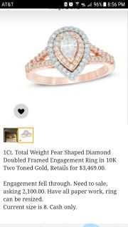 Pear Shaped Diamond Doubled Framed Engagement Ring