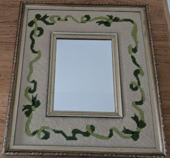 Vintage Collectible Handmade Retro Needlepoint Framed Mirror