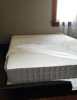 Double matress and platform bed frame
