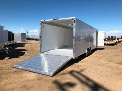8.5 x 28 ENCLOSED RACE CAR HAULER, ALUMINUM CARGO TRAILER, ALUMA AER828
