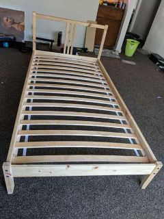 Ikea Twin Bed Frame Solid Wood with Headboard and Slatted bed base
