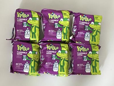 Kandoo Kids Flushable Wipes Refill, Potty Training Cleansing Cloths, Magic Melon, 100 Count each Pack (Pack of 6)