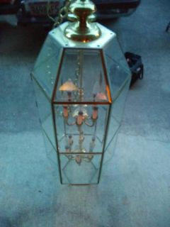 3 foot two tier brass and beveled glass hanging lamp