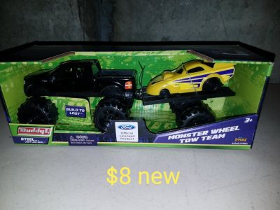 Truck and yellow car with trailer toy