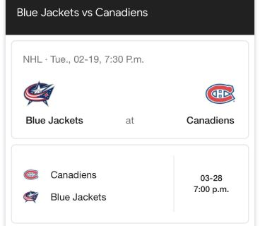 2 Billets Les Canadiens Centre Bell 2 Tickets