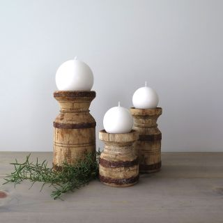Rustic Pillar Candle Holders, Set of 3