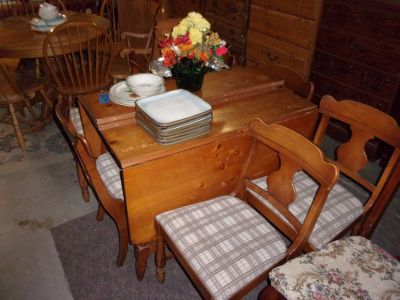 Knotty Pine Drop Leaf Table and Six Chairs Set