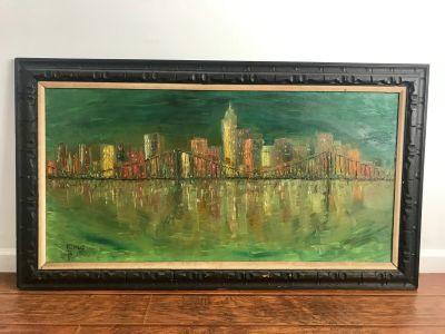 Mid Century Modern Framed Cityscape Painting